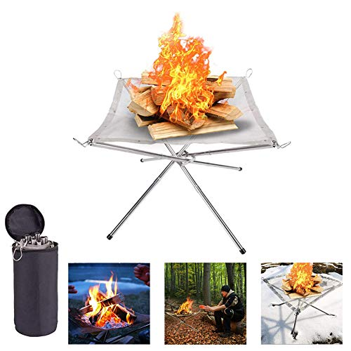 FXQIN Portable Fire Pit Outdoor Foldable Stainless Steel Mesh Fireplace for Patio, Camping, Backyard and Garden, Carrying Kit Included
