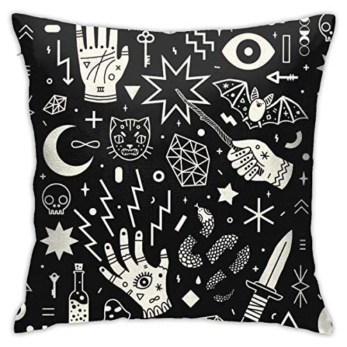 phjyjyeu Fundas de almohada decorativas de 45,7 x 40,6 cm para sofá, dormitorio, sala de estar, estilo mágico, con diseño de mano, diseño de calavera y gato, 40,6 x 40,6 cm