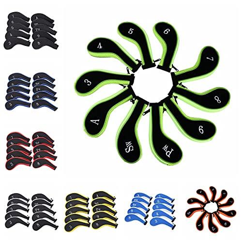 Sword &Shield sports Neoprene Zipper Golf Club Iron Head Covers Iron Covers 10pcs/Set(Black&Black)