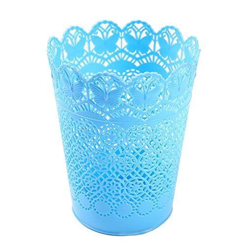 Mini Encaje Basura Canasta Escritorio Basura Puede Oficina de Mesa de Flores Cesta Percheros Escombros Almacenamiento Estantes (Azul)