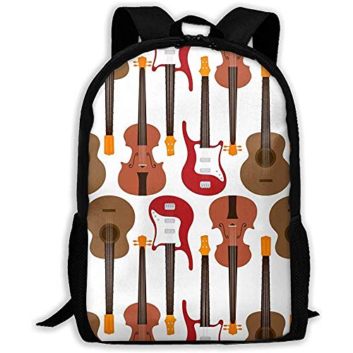 wobuzhidaoshamingzi Mochila Escolar Guitarra Eléctrica Tradicional Mochila Casual Bolsa de Viaje para...
