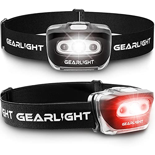 GearLight LED Head Lamp - Pack of 2 Outdoor Flashlight Headlamps w/ Adjustable Headband for Adults and Kids - Hiking & Camping Gear Essentials - S500