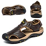 BINSHUN Sandals for Men Leather Hiking Sandals Athletic Walking Sports Fisherman Beach Shoes Closed...