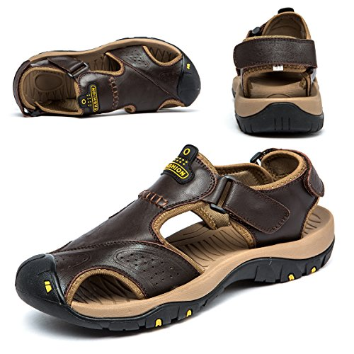 Sandals for Men Leather Hiking Sandals Athletic Walking Sports Fisherman Beach Shoes Closed Toe Water Sandals