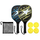 Win SPORTS Wooden Pickleball Paddle Set,Beginner Racket,Pickle Ball Paddles - with 2 Paddles,4 Balls and 1 Carry Bag | Durable and Classic