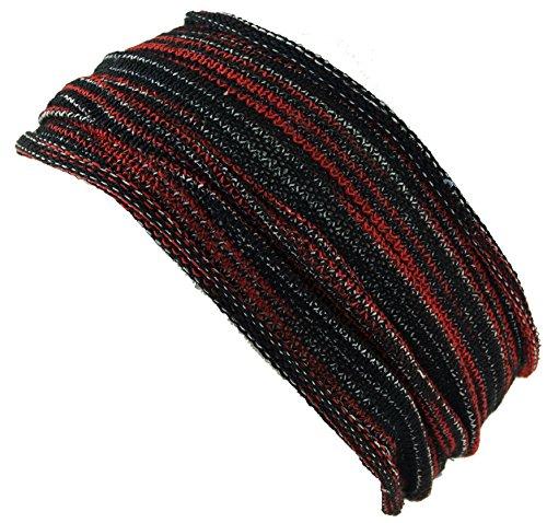 Guru-Shop Magic Hairband, Dread Wrap, Schlauchschal, Stirnband, Herren/Damen, Haarband Schwarz/rot, Baumwolle, Size:One Size, Stirnbänder Alternative Bekleidung