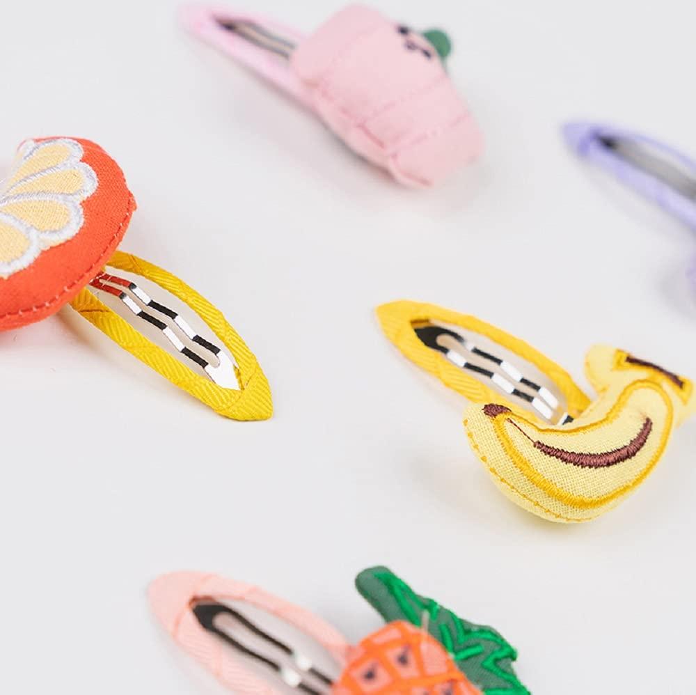 Hot & Sattion 5Packs Baby Girl Hair Clips Vegetable Fruit Pattern Felt Snap Clips Hair Bows for Toddlers Girl Kids