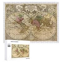 INOV マッパトティウスムンディ 世界地図(1775年) ジグソーパズル 木製パズル 500ピース キッズ 学習 認知 玩具 大人 ブレインティー 知育 puzzle (38 x 52 cm)