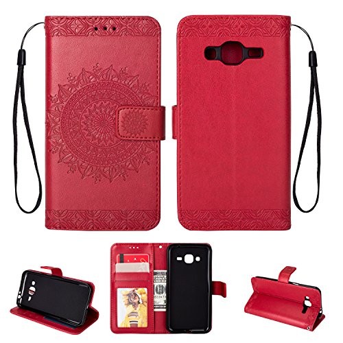FOLICE Galaxy J3 (2016) J320/ Sky S320/ Sol J321/ Amp Prime/Express Prime Case Mandala Flower Pattern [Shock Absorbent] PU Leather Kickstand Wallet Cover Durable Flip Case (RED)
