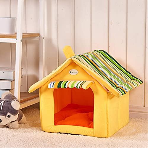 HGJINFANF Cat'S Nest Winter Warm Coster Casa Casa Casa Se Puede Desmontar el Saco de Dormir del Gato Dog Kennel Pequeño Perro Teddy Cat Supplies (Color : Yellow, Size : S 35 * 30)