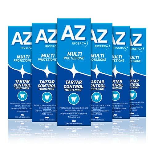 AZ Dentifricio Multi Protezione Tartar Control + Whitening 6 x 75ml, Dentifricio al Fluoro per Adulti e Bambini