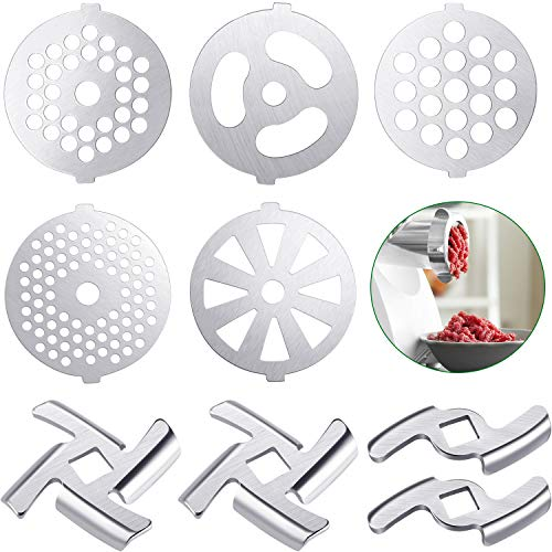 9 Pieces Meat Grinder Blades Meat Grinder Plate Discs Stainless Steel Food Grinder Accessories for Size 5 Stand Mixer and Meat Grinder