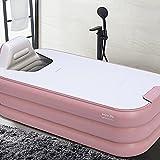 Bañera inflable automática plegable portátil para el hogar, spa, 160 cm, diseño de la bolsa de almacenamiento para toallas de baño, diseño flexible con cremallera (rosa)