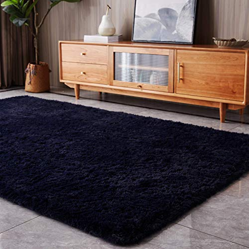 Augefar Ultra Soft Area Rugs for Living Room Fluffy Shag Rug Bedroom Plush Non-Slip Cute Carpet for Kids Girl Boy Teen Nursery Dorm Indoor Decor Floor Fuzzy Furry Accent Comfy 4x6 Navy Blue
