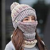 3 In 1 Women Knitted Hat Circle Scarf Mask Set Fleece Pom Pom Beanie Hat Neckwarmer Full Face Mask Earflap Thermal Winter Cycling Balaclava Skull Cap Windproof Ski Hood Hat