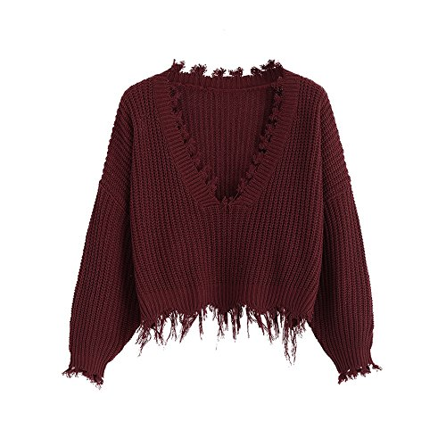 ZAFUL Women's Casual Long Sleeve Loose Knitted Jumper Sweater Pullover Winter Top Outwear (Weinrot)