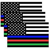 Creatrill Reflective Thin Blue Red Green Line Decal Matte Black – 3 Packs 3x5 in. American USA Flag Decal Stickers for Cars, Trucks, Hard Hat, Support for Police Fire Officers Military Troops