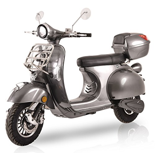 Elektroroller Classico, 3000 Watt, Elektro-Roller, E-Scooter, E-Roller mit Straßenzulassung, 45 km/h, fest verbauter Blei-Gel-Akku, Produktvideo, Grey
