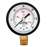 Winters PEM Series Steel Dual Scale Economical All Purpose Pressure Gauge with Brass Internals, 0-300 psi/kpa, 2' Dial Display, +/-3-2-3% Accuracy, 1/4' NPT Bottom Mount