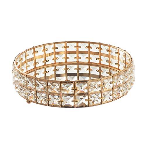 harayaa Bedside Tabletop Jewelry Tray Plate Mirrored Makeup Holder Organizer Golden