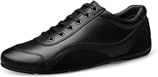 XUJW-Shoes, Mens Flat Fashion Sneakers for Men Lace Up Casual Running Tennis Sport Shoes Lace up Round Toe Vegan Anti-Slip Leather Lightweight Flat Unique (Color : Black, Size : 7 UK)
