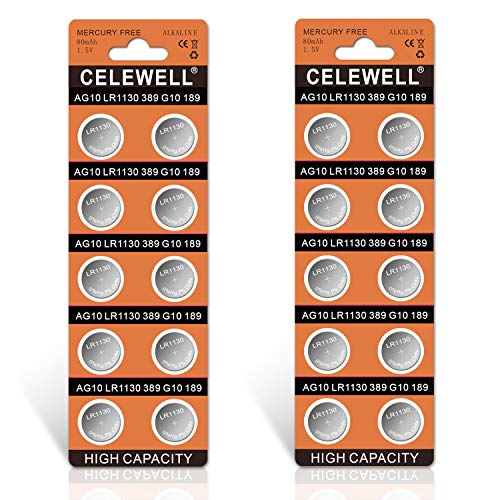 【5-Year Warranty】 CELEWELL LR1130 AG10 Battery 1.5V Alkaline Button Cell for Watch Toy 20 Pack