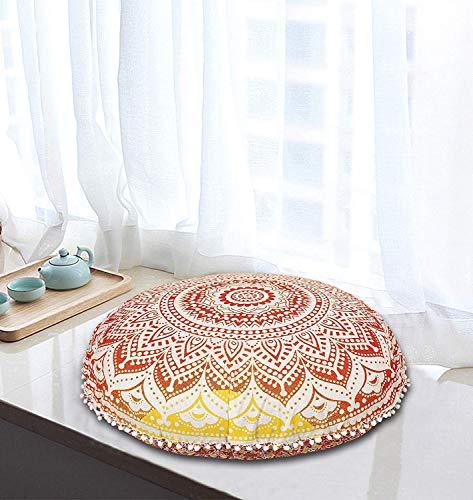 MY DREAM CARTS Bodenkissen, 81,3 cm, Gelb / Rot, Ombre, Mandala, Meditationskissen, Sitzkissen, Überwurf, Hippie, dekorativ, Boho, indisch (nur Bezug)