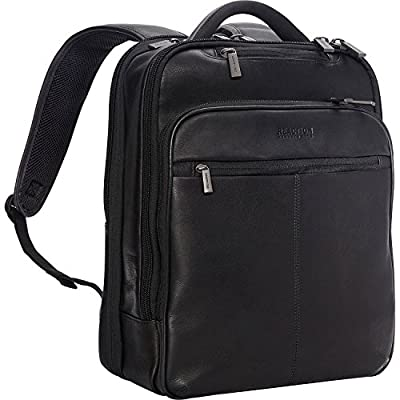 "Kenneth Cole Reaction Manhattan Colombian Leather Slim 16"" Laptop & Tablet Checkpoint-Friendly Anti-Theft RFID Business Book Bag Backpack, Black, Medium"