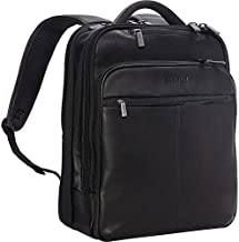 Kenneth Cole Reaction Manhattan Colombian Leather Laptop Backpack RFID Business, School, Travel Computer Bookbag, Black, Slim