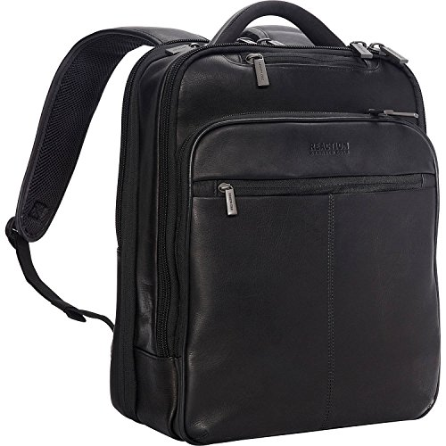 Kenneth Cole Reaction Manhattan Colombian Leather Slim 16' Laptop & Tablet RFID Business Backpack, Black, Medium