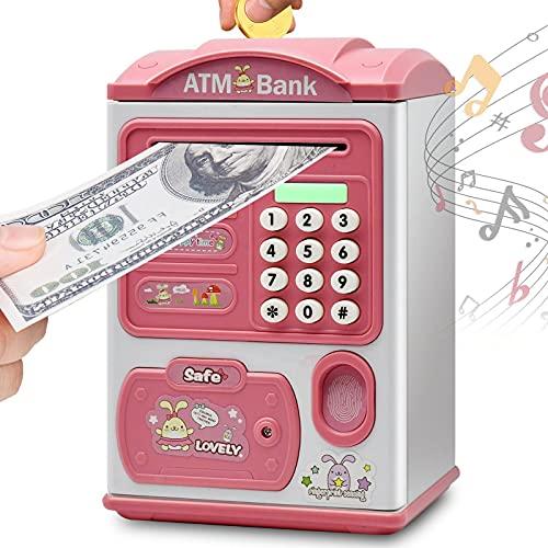 Hucha electrónica para cajeros automáticos, hucha con protección de contraseña, caja de ahorro con desplazamiento automático de billetes, gran regalo de cumpleaños de Navidad para niños, niñas y niños