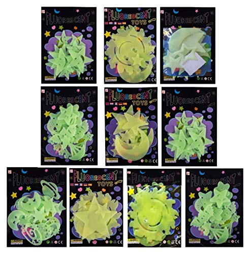 Birthday Popper Glow in The Dark Radium Sticker (Set of 10) Birthday Party Return Gifts for Kids of All Age Group in Bulk