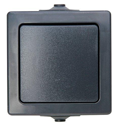 Kopp Nautic Universalschalter (Aus-und Wechselschalter), Aufputz, Lichtschalter für Feuchtraum, 250V (10A), IP44, anthrazit, 565615002, Wechsel-Schalter