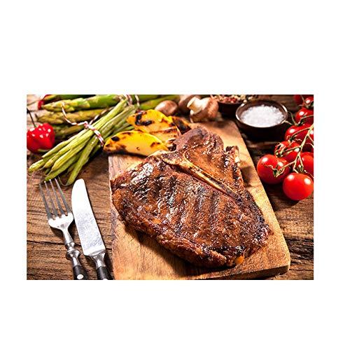 tzxdbh groente vleesmes en vork keuken canvas schilderij Cuadros Scandinavisch poster en print muurkunst eten afbeelding woonkamer schilderij & kalligrafie van a 60x90CM Geen frame.
