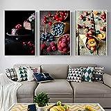 ristorante moderno decorazione cucina gourmet poster mirtillo frutta stampa murale arte tela dessert decorazione immagine 60x80cm/23.6x31.5x3 senza cornice