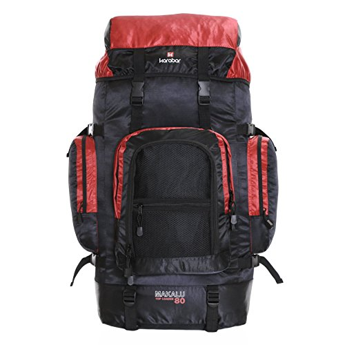 Karabar Extra Large Travel Hiking Backpack Rucksack Bag XL 80 litres 77 cm 1.3 kg, Makalu Black & Red