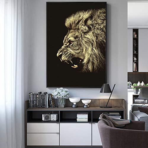 Sanzangtang Moderne dierposters en digitale prints wandfoto's canvasafbeeldingen leeuwenfoto's woonkamerwanddecoratie zonder lijst