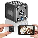 Mini cámara de vigilancia 1080P cámara HD, detección de Movimiento inalámbrica infrarroja visión Nocturna WiFi cámara de niñera magnética, para Oficina en casa. (Negro).