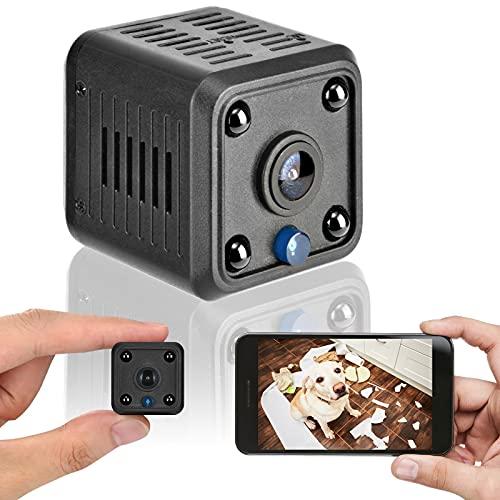 Mini cámara de vigilancia 1080P cámara HD, detección de Movimiento inalámbrica infrarroja visión Nocturna WiFi cámara de niñera magnética, para Oficina en casa (Negro)