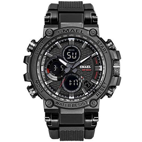 SMAEL Reloj Analógico Digital Militar Reloj Deportivo Hombres Dual Dial Negocio Casual Multifunción Relojes De Pulsera Electrónicos Reloj Resistente,Negro