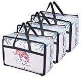 OYOUNGNI Clear Clothes Storage Bag Organizer with Reinforced Handle, Vinyl Storage Bags for Comforter, Blanket, Bedding, Toys, Transparent Moving Totes with Sturdy Dual Zippers, 3 Pack, 55 L, Black
