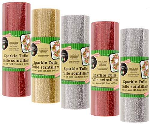 Christmas Glitter Tulle - 5 Pack (Gold, Silver, Red) - 5 Yards Per Roll