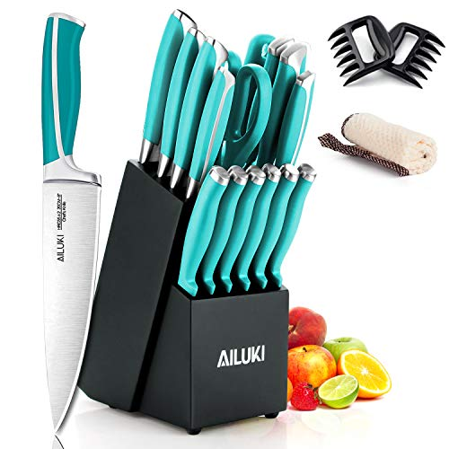 Knife Set, 18 Piece Kitchen Knife Set with Block Wooden and Sharpener, Professional High Carbon German Stainless Steel Chef Knife Set, Ultra Sharp Full Tang Forged White Knives Set (Blue)