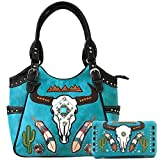 Zelris Longhorn Skull Embroidered Feather Cactus Design Conceal Carry Women Tote Purse Handbag with Crossbody Wallet Set (Turquoise)