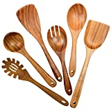 Wooden Utensils for Cooking,6 Pack Organic Teak Wooden Spoons for Cooking Wood Utensil Set and...