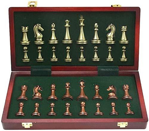 SJZLMB Schachspiel Großes Metall Deluxe Schach Retro Kupfer Überzogene Legierung Schach Erwachsene Set Brettspiel Tragbare Holzkiste Aufbewahrung Falten Schach Set Puzzle Unterhaltung Party Spiel