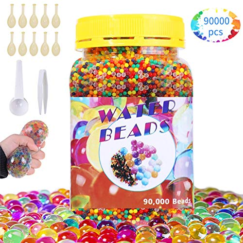 SaiXuan 90000 Stück Wassergel-Kugeln,Wasserperlen Gel-Perlen für Vasen Dekoration,Pflanzen,Blumen,gemischte Kristalle,Hydrogel-Kugeln für Dekoration