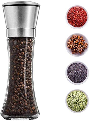 P-Plus International Pepper Grinder or Salt Shaker for Professional Chef - Best Spice Mill with Brushed Stainless Steel, Special Mark, Ceramic Blades and Adjustable Coarseness (Tall Pack 1)