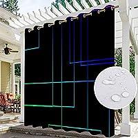 防水屋外カーテンウィンドウシェードパーゴラドレープブラックアウトパティオ屋外カーテン防水ステインプルーフ耐熱カーテン1セット、K、W1H2mペア