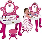 3t hair dryer - WolVolk 2-in-1 Vanity Set Girls Toy Makeup Accessories with Working Piano & Flashing Lights, Big Mirror, Cosmetics, Working Hair Dryer - Glowing Princess will Appear when Pressing the Mirror-Button
